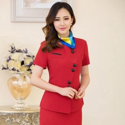 新款职业装女装套裙短袖西装女裙套装售楼工作服珠宝店员制服