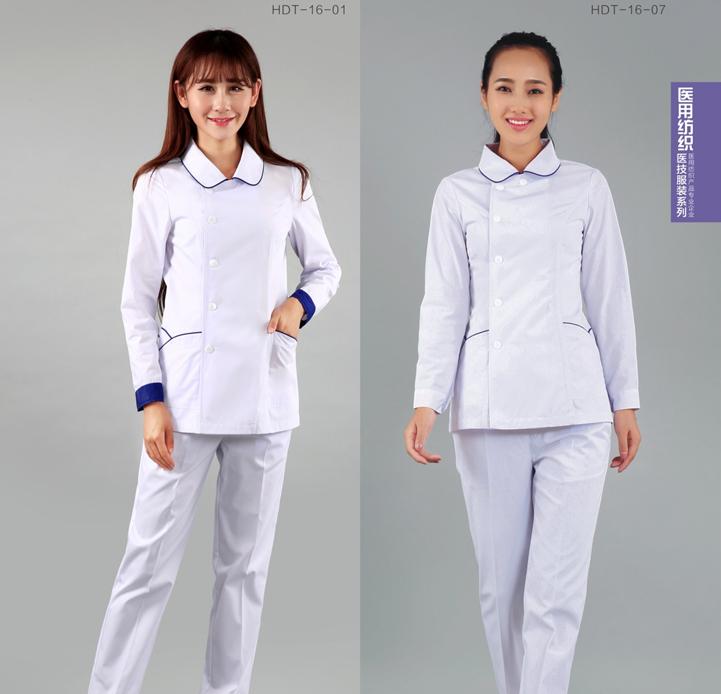 护士服长袖 女白大褂娃娃领冬装修身学生医院工作服套装现货批发