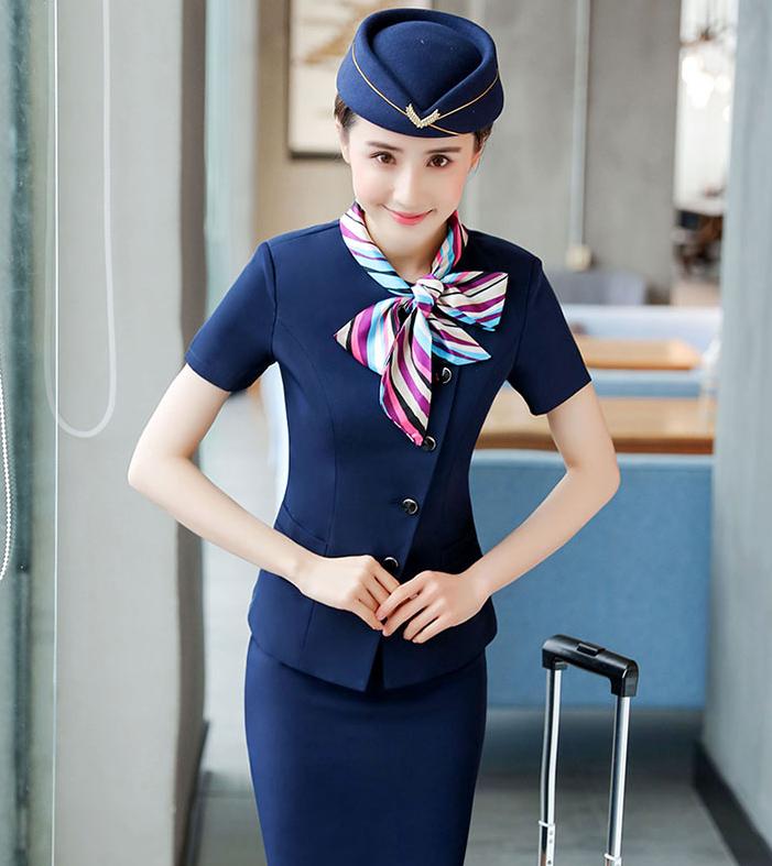 夏季职业装套裙短袖餐饮前台领班服务员工装空姐制服美容师工作服